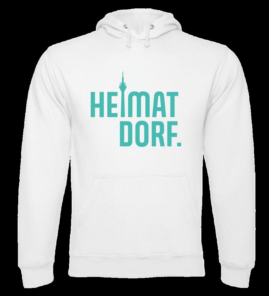 Weißer Hoodie mit türkisem HeimatDorf-Logo