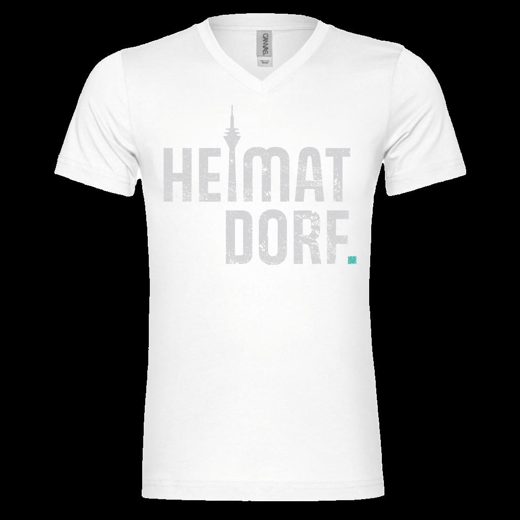 Herren T-Shirt mit V-Neck in weiß mit großem HeimatDorf Düsseldorf in Usedoptik