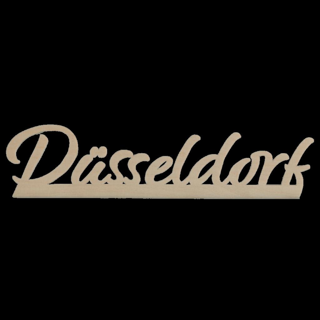 Düsseldorf-Schriftzug gefräst aus Holz