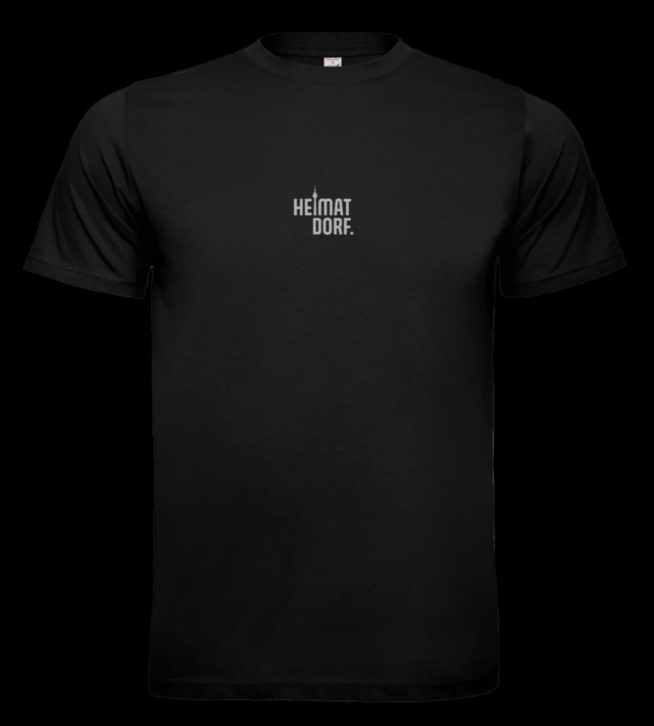 Schwarzes Bio T-Shirt für Herren mit Düsseldorf HeimatDorf-Logo aufgedruckt