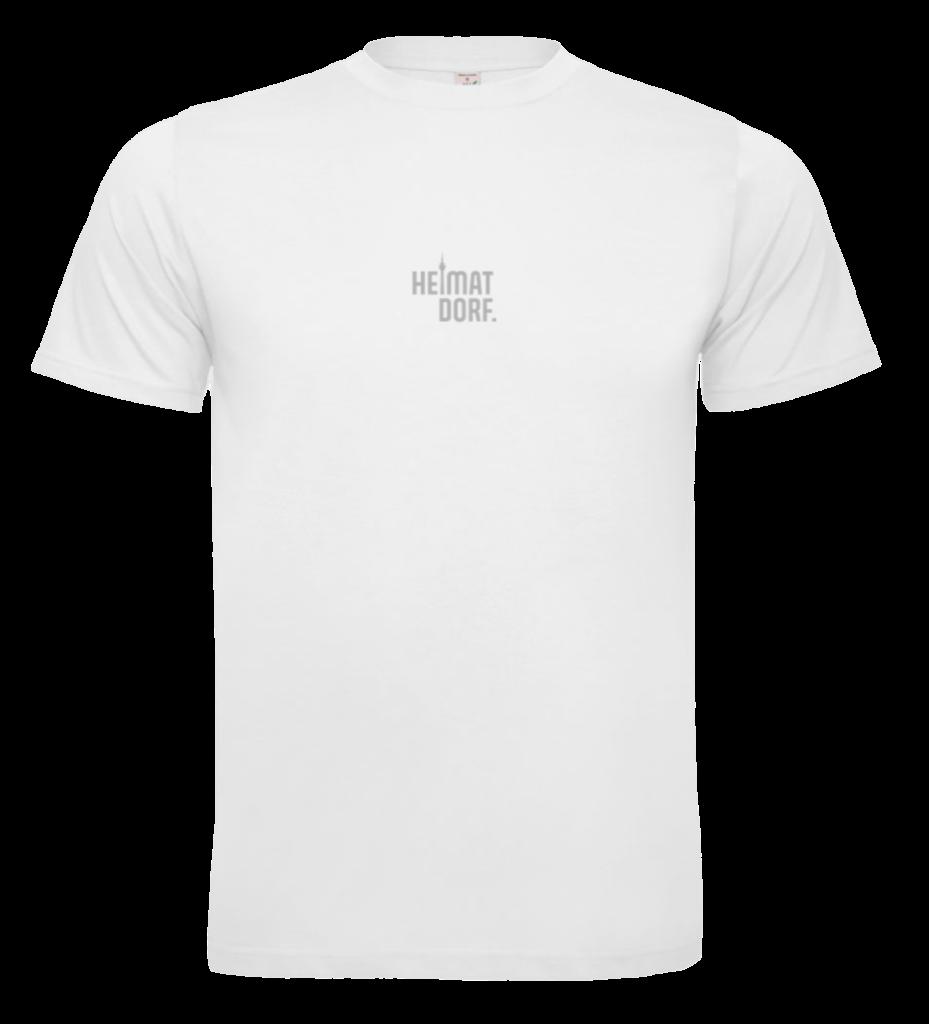 Weißes Bio T-Shirt für Herren mit Düsseldorf HeimatDorf-Logo aufgedruckt. Der Druck ist aus einer reflektierenden Textilsdruckfolie.